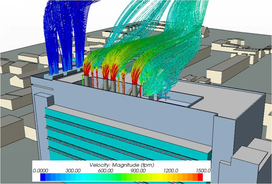 Streamlines from a cooling tower