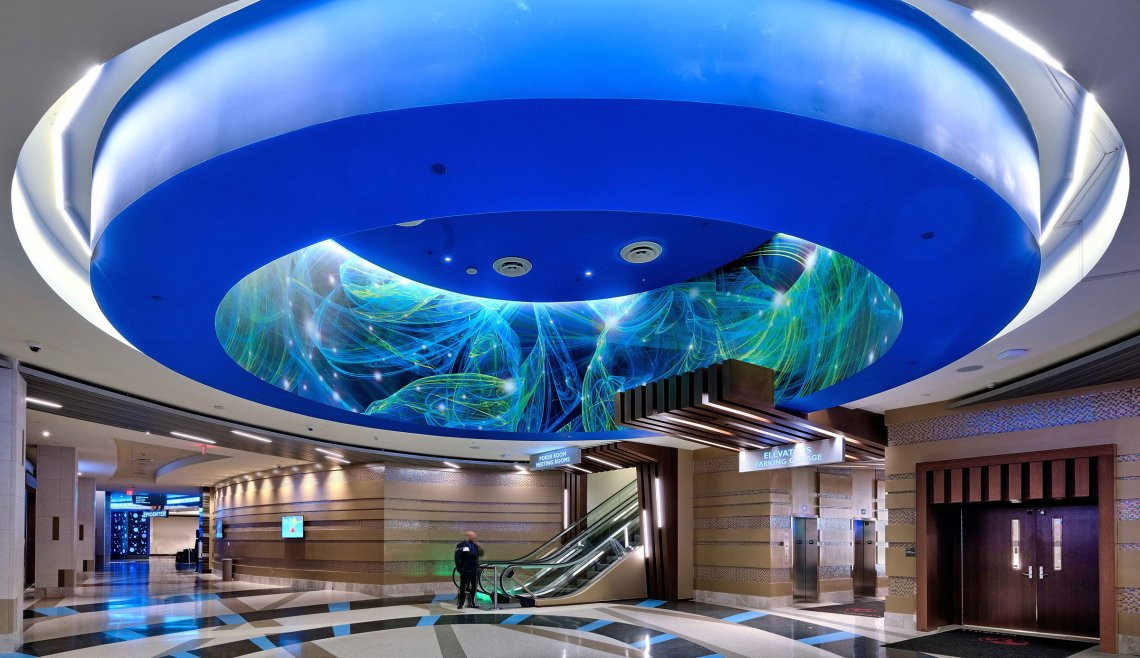 main entrance ceiling lighting at Resorts World Catskills