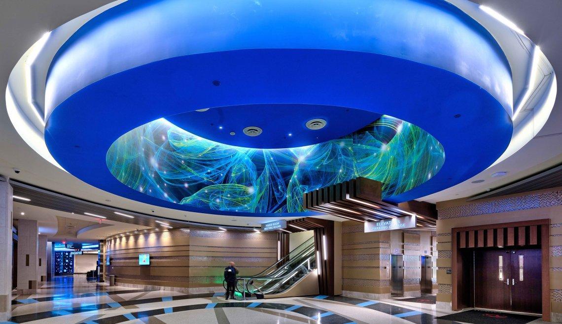 main entrance ceiling lighting at Resorts World Catskills