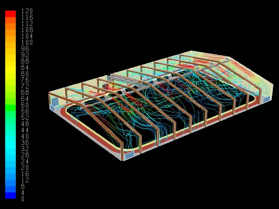 Heating and cooling - ventilation streamlines.